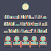 Flat Design Reading Seats and Bookshelves Vector Illustration — Vector de stock