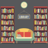 Empty Reading Seat In Library Vector Illustration — ストックベクタ