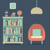 Moderne design interieur sofa en boekenkast — Stockvector
