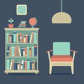 Modern tasarım iç kanepe ve kitaplık — Stok Vektör