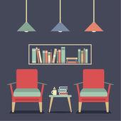 Modern Design Interior Chairs and Bookshelf — Vettoriale Stock