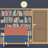 Reading Seat In Front Of A Huge Bookcase — Vecteur