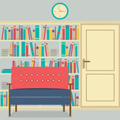 Reading Seats In Front Of A Huge Bookcase — Stok Vektör