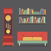 Living Room Interior Design Vector Illustration — Stok Vektör