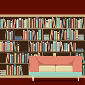 Reading Seat In Front Of A Bookcase — Stock Vector