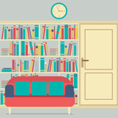 Reading Seats In Front Of A Huge Bookcase — Stock Vector
