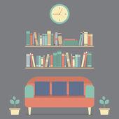 Flat Design Interior Vintage Sofa and Bookshelf — Stock Vector