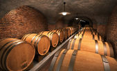 Cellar with wooden barrels — Stock Photo