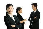 Business-Frau in einer Umgebung mit corportate — Stockfoto