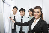 Chinese Business team discussing ideas. — Stock Photo