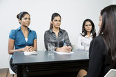 Panel of colleagues interview applicant — Stock Photo