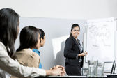 Indian businesswoman discussing ideas at meeting — Foto de Stock