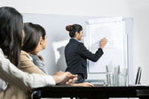 Business woman drawing chart at meeting — Stock Photo