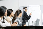 Indian businesswoman explaining targets to colleagues — Stock Photo