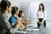 Indian business woman doing a presentation. — Stock Photo