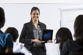 Indian Business woman giving presentation. — Stock Photo
