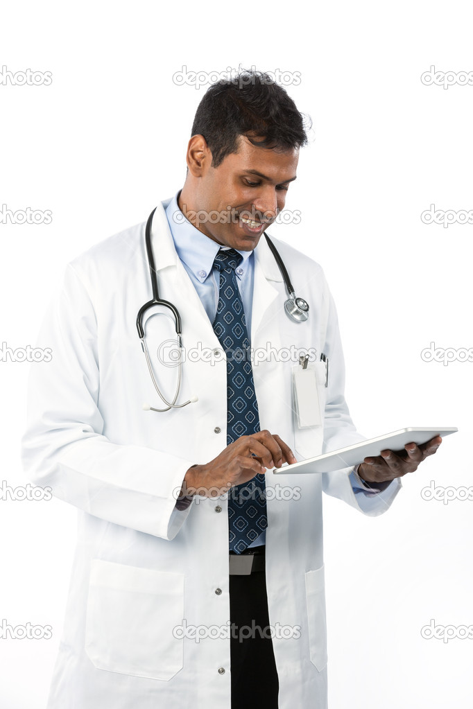 Male Asian doctor holding a digital tablet & wearing a lab coat plus stethoscope. — Zdjęcie stockowe #16897085