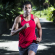 Close up of an athletic Indian man running in park — Stock Photo