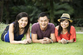 Happy Chinese friends hanging out — Stock Photo