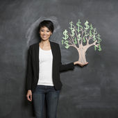Asian woman and chalk money tree drawing on blackboard. — Stock Photo