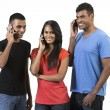 Group of young Indian friends using their smartphones. — Stock Photo #36759617