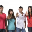 Group of Indipeople with hands raised in signal to stop. — Stock Photo #36759741
