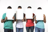 Group of Indian people with a banner ad. — Stockfoto