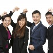 Happy Asian business team celebrating success. — Stock Photo