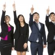 Group of Chinese business people pointing at something.  — Stock Photo