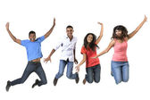Excited group of Indian men and women jumping for joy. — Stock Photo