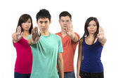 Group of Chinese friends with hands up to 'STOP' — Foto Stock