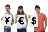 Chinese people holding banners with currency symbols — Stock Photo