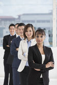 Indian Businesswoman leading a business team — Stock Photo