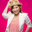 Fashionable Asian Woman wearing straw hat.  — Photo