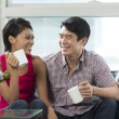 Happy Chinese couple at home together — Stock Photo #36810557
