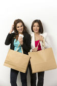 Portrait of 2 happy Asian women with shopping bags. — Stockfoto
