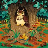 Scene with owl. — Stock Vector