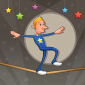 Funny equilibrist is walking on the tightrope. — Stock Vector