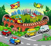 Divertidos vehículos en la ciudad. — Vector de stock