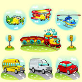 Divertidos vehículos con fondo. — Vector de stock