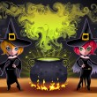 Постер, плакат: Funny witches with pot
