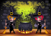 Funny witches with pot. — Vettoriale Stock