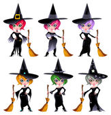 Set of funny witches. — Stock Vector
