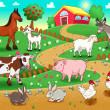 Stock Vector: Farm animals with background.