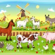 Farm animals with background — Stock Vector #13293666