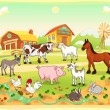 Farm animals with background — Stock Vector #13295130