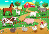 Farm animals with background. — Stock Vector