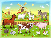 Farm animals with background — Stock Vector