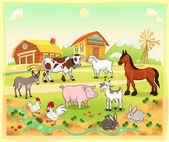 Farm animals with background — Stok Vektör