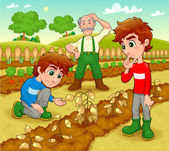 Funny scene in the vegetable garden. — Stock Vector